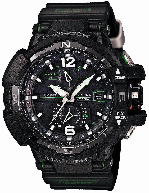 [カシオ]CASIO 腕時計 G-SHOCK SKY COCPIT スカイコックピット GW-A1100-1A3 電波ソーラー 方位計測 ブラック×グリーン メンズ [並行輸入品] B00ZWA2GVY