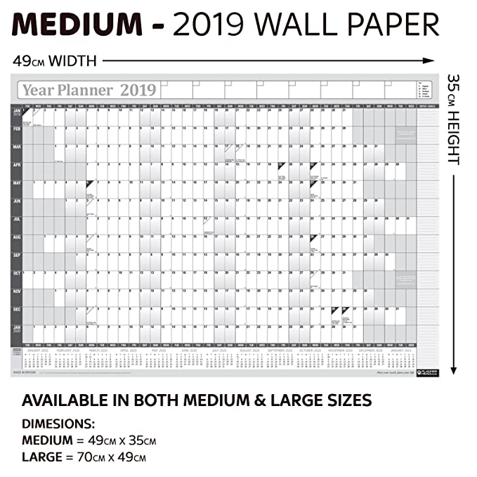 49cm x 35cm 2020 Year Yearly Annual Office Home Wall Planner Calendar Chart//Includes UK /& Ireland Bank Holidays//Unmounted Unlaminated//Pink Medium