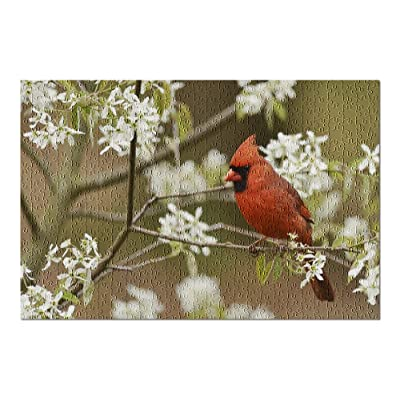 Red Male Cardinal in Spring Flowers 9033283 (Premium 500 Piece Jigsaw Puzzle for Adults, 13x19, Made in USA!): Toys & Games
