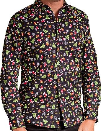 Christmas Shirt.Men S Xmas Jolly Santa Sprouts Printed Long Sleeves Christmas Formal Shirt