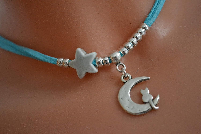 Farben Kette t/ürkis mit Mond und Stern versch