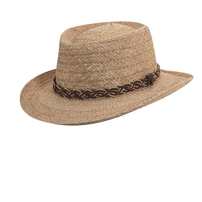 2bdbf9d3b00 SCALA Men s Organic Raffia Gambler Straw with Braid Trim Hat at Amazon  Men s Clothing store