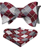 HISDERN Men's Check Plaid Bowtie Formal Tuxedo Self-Tie Bow Tie and Pocket Square Set