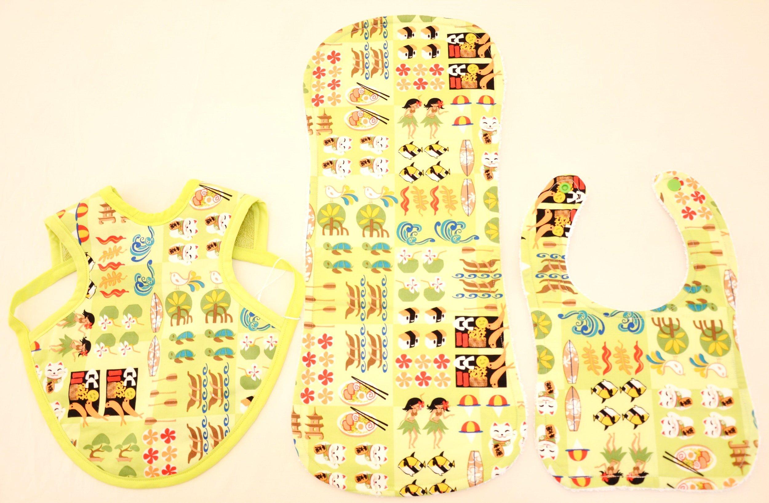 Hawaiian Bib Set (Bib, Bapron, Burp Cloth) - Little Hawaiian Characters in Green (S)