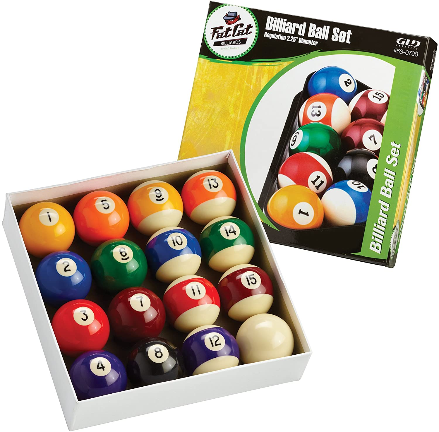 Fat Cat 2-1/4 Regulation Size Billiard/Pool Balls, Complete 16 Ball Set 53-0790