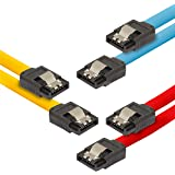 Poppstar - 3X Cable de Datos Flexible de 0,5m Sata 3 HDD SDD, enchufes Rectos, hasta 6 GB/s, Color 1x Amarillo, 1x Rojo, 1x Azul
