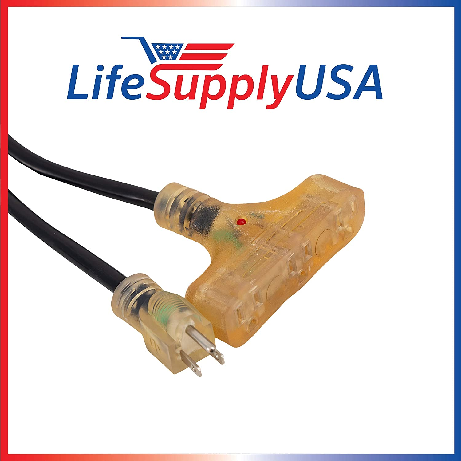 3 Feet 12//3 3ft 3-Outlet SJTW 15A 125V 1875W Lighted End Indoor//Outdoor Black Heavy Duty Tri-Source Extension Cord LifeSupplyUSA