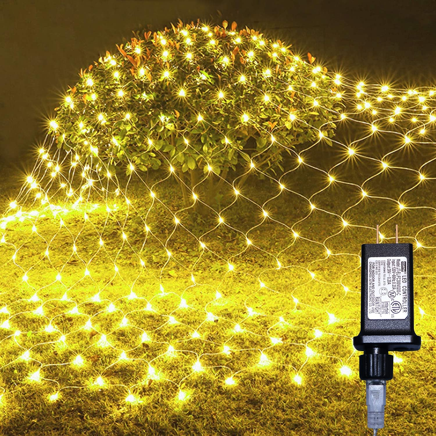 Net Mesh String Fairy Lights 200 LEDs, 6.6 Ft x 9.8Ft, 8 Lighting Modes, Outdoor Transparency Light for Christmas Tree Decoration, Party, Wedding ( Warm White )