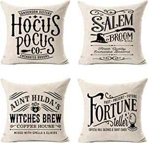 MFGNEH Hocus Pocus Halloween Pillow Covers 18x18 Set of 4,Halloween Decorations Witches Brew Cotton Linen Cushion Covers,Halloween Decor,Fall