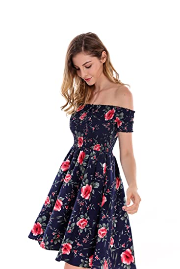 98627eec4f5 Apperloth Women s Sexy Off The Shoulder Dress Floral Print Short Sleeve  Mini A-Line Fit