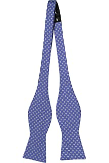 Self tie bow tie - Small white dots on cobalt blue twill Notch