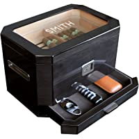 CASE ELEGANCE Monogrammed Octodor Large Black Piano Finish Glass Top Cedar Humidor with Digital Hygrometer, Humidification System, and Accessory Drawer - Holds (50-100 Cigars)
