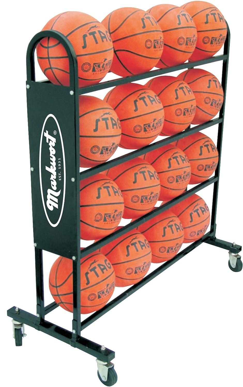 Markwort 16ボール容量バスケットボールトロリー、ブラック