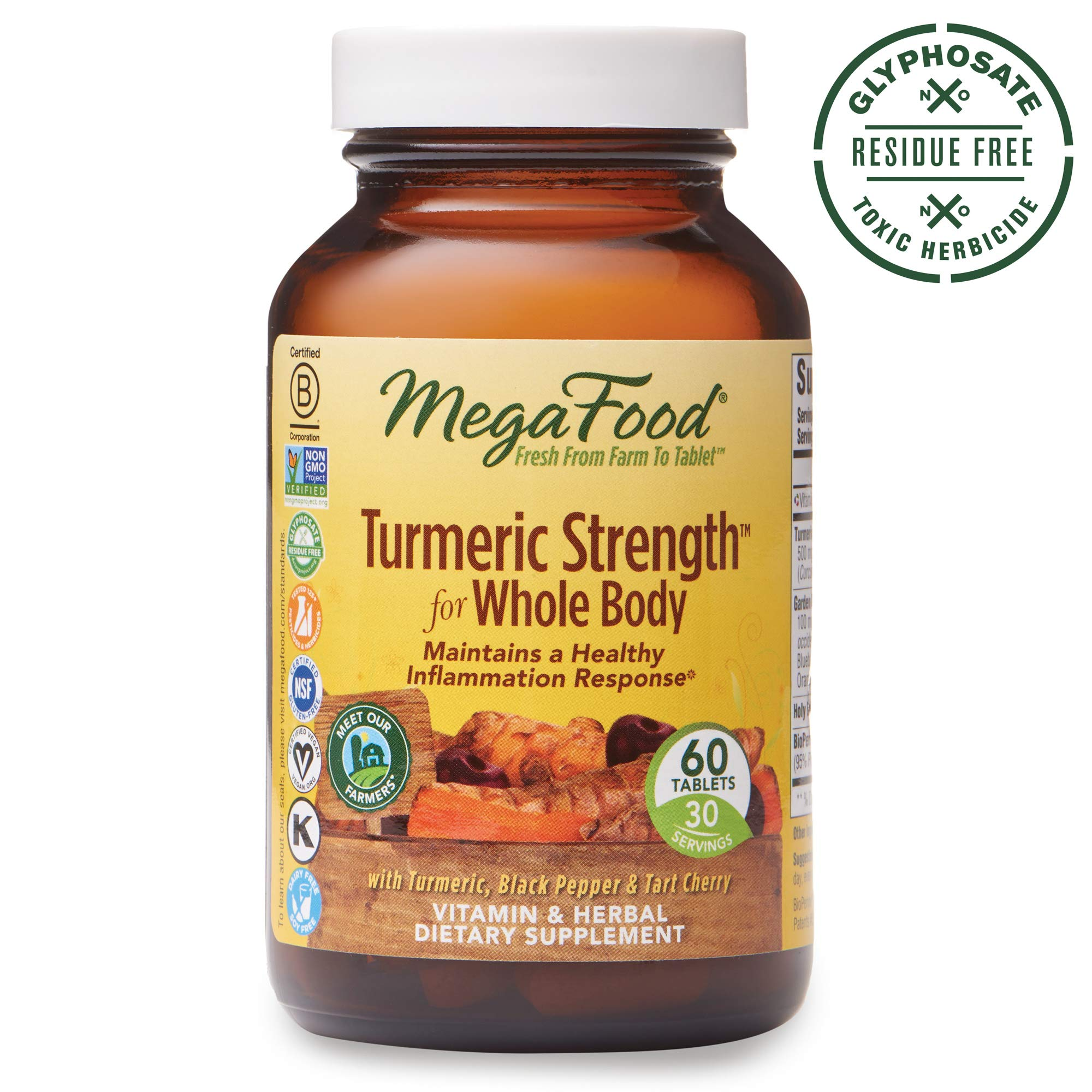 MegaFood, Turmeric Strength for Whole Body, Maintains a Healthy Inflammation Response, Vitamin and Herbal Dietary Supplement, Gluten Free, Vegan, 60 Tablets (30 Servings) (FFP)