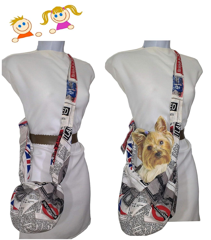 Sac pour les filles. et petit sac pour chien jusqu'à 3 Kgr. Presse britannique. Type kangourou Lavable Fait main tres durable