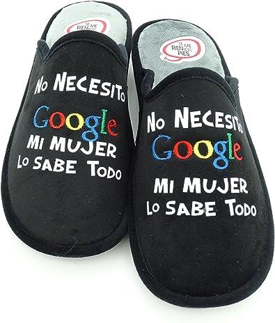 Zapatillas Casa Hombre -No necesito Google, mi mujer lo sabe todo (45): Amazon.es: Zapatos y complementos