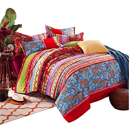 100 Baumwolle Boho Stil Bettbezug Set Bunt Gestreift Betttuch Sets
