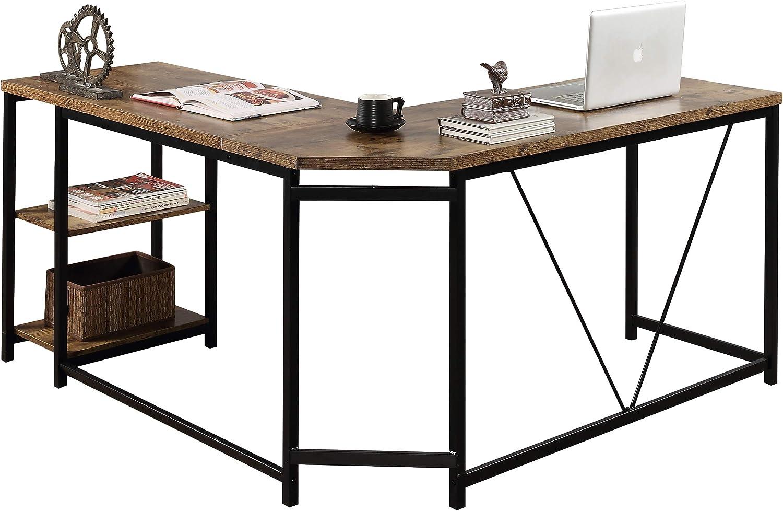 Merax L-Shaped Workstation Computer Corner Home Office Wood Laptop Table Study Desk, Brown