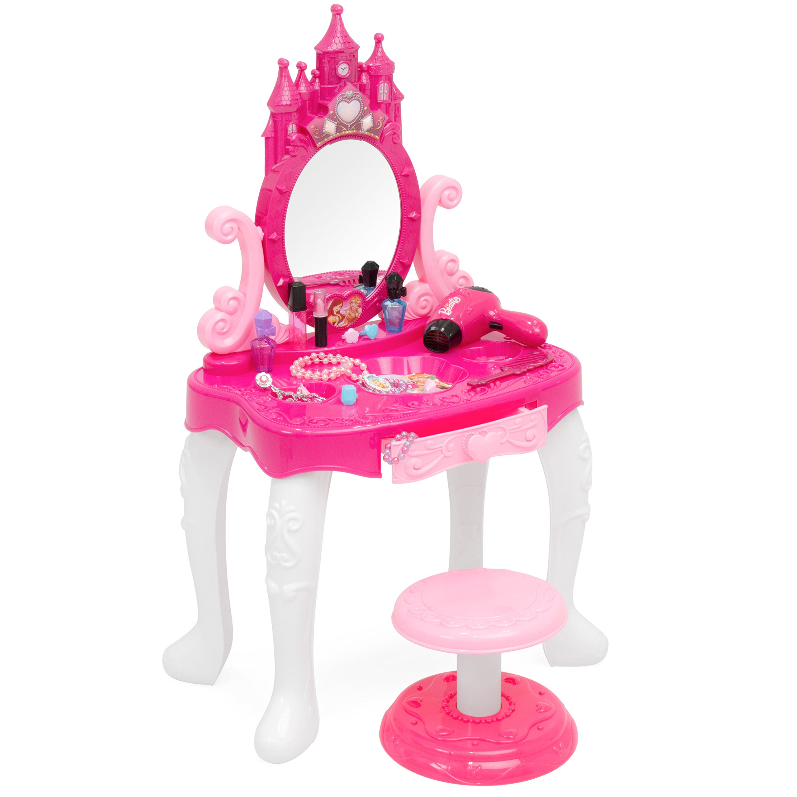 Best Choice Products Kids 14-Piece Vanity Playset w/ Accessories, Makeup, Hairdryer, Jewelry, Pink by Best Choice Products
