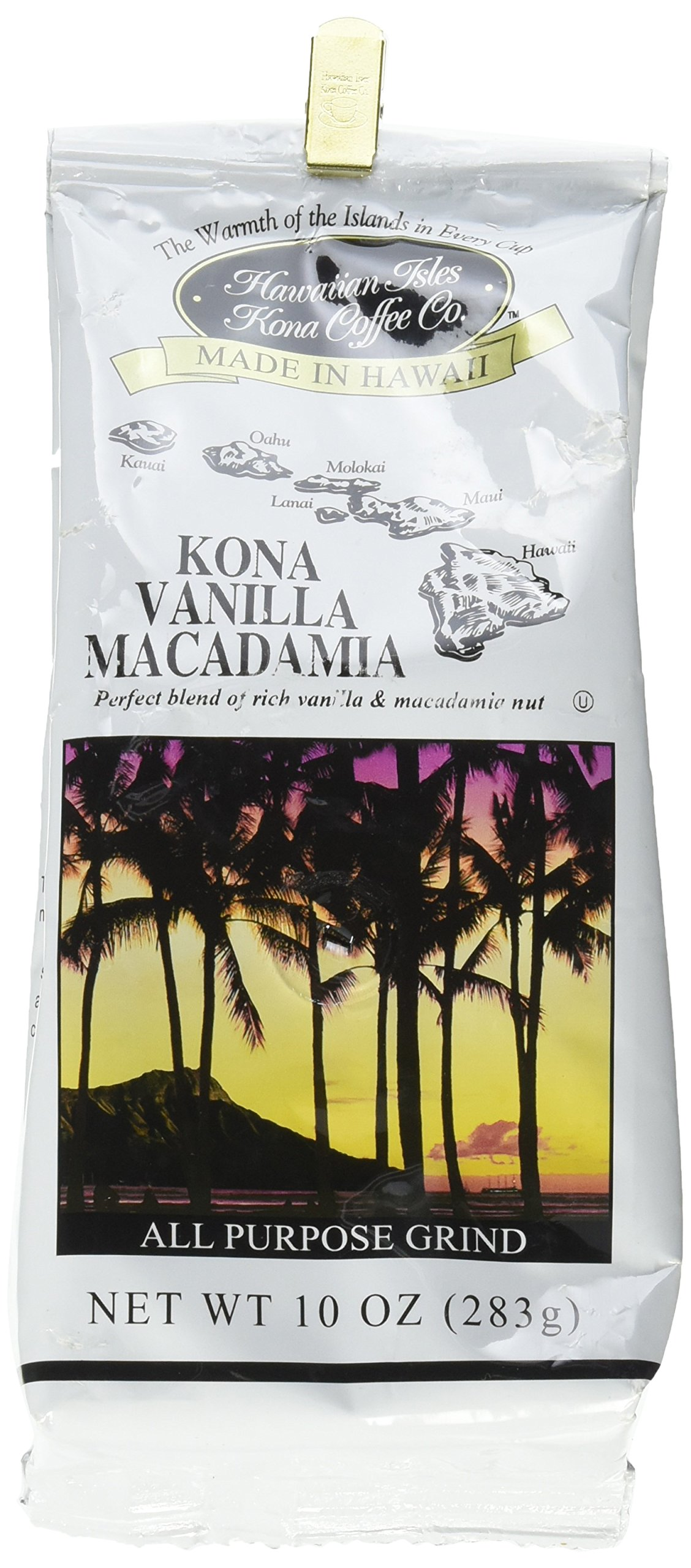 Hawaiian Isles Kona Coffee Co. Kona Vanilla Macadamia Nut Ground Coffee, Medium Roast, 8 ounce bag