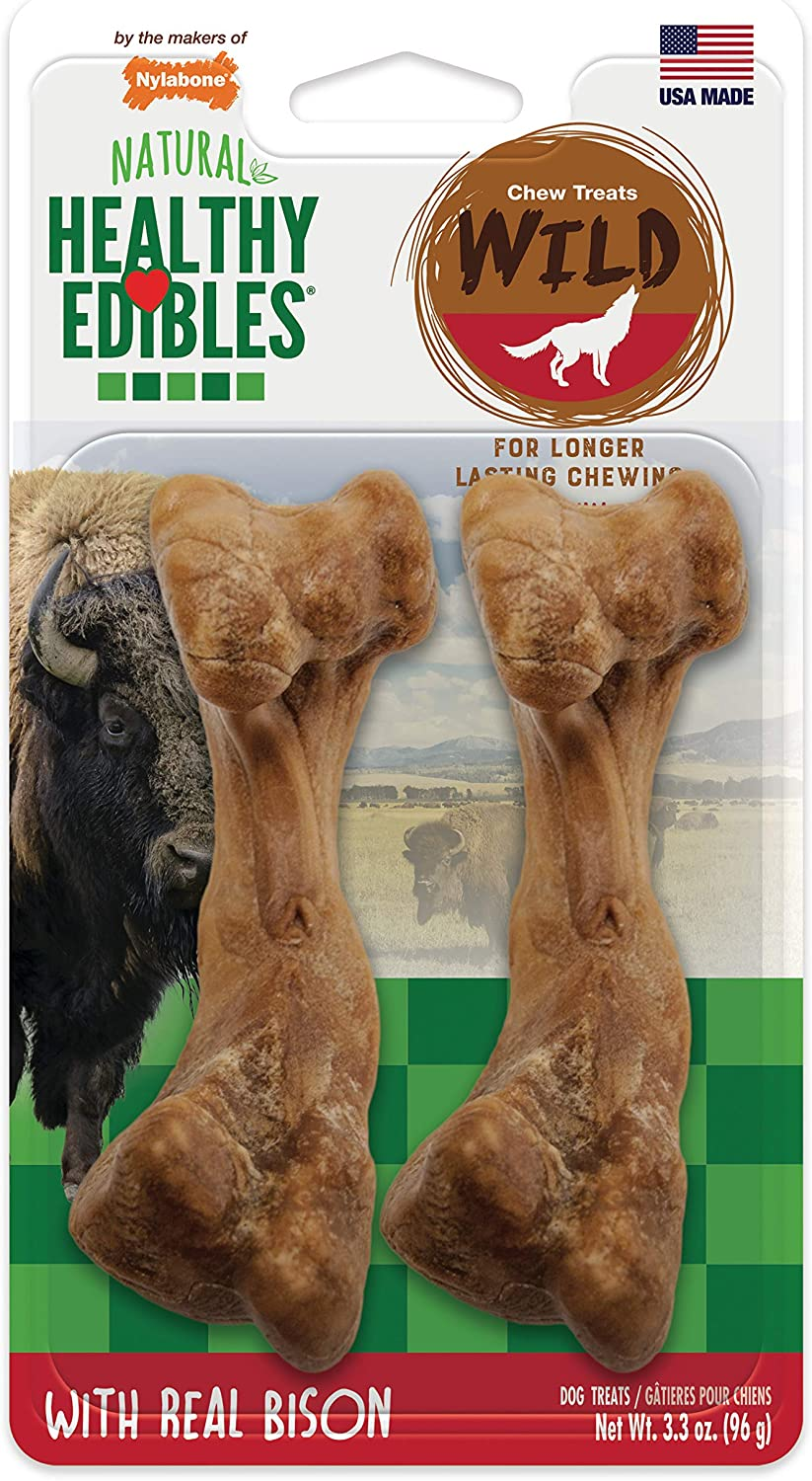 Nylabone Healthy Edibles Wild Natural Long Lasting Bison Dog Chew Treats