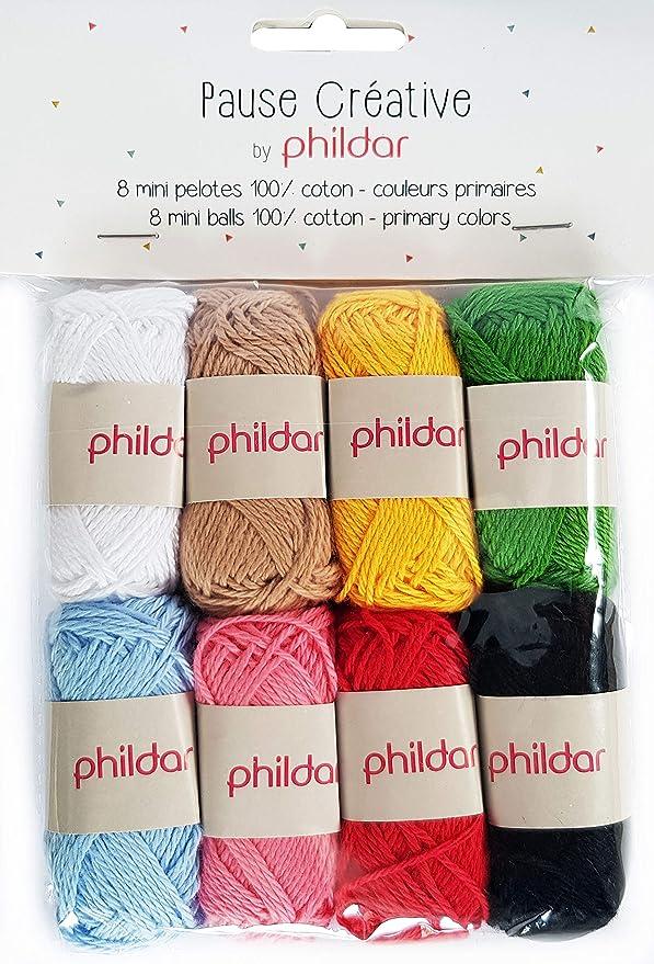 Phildar Pause Créative - Ovillo de lana (8 ovillos, 10 g, 100% algodón): Amazon.es: Hogar