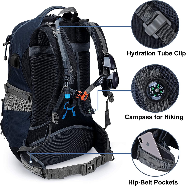G4Free 50L Mochila de Senderismo Impermeable Daypack Outdoor Camping Escalada Mochila con Cubierta de Lluvia para Hombres Mujeres
