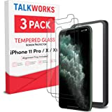 TALK WORKS iPhone 11 Pro Screen Protector (Also Fits iPhone Xs, iPhone X) 3 Pack, Installation Tray, Tempered Glass Durable 0