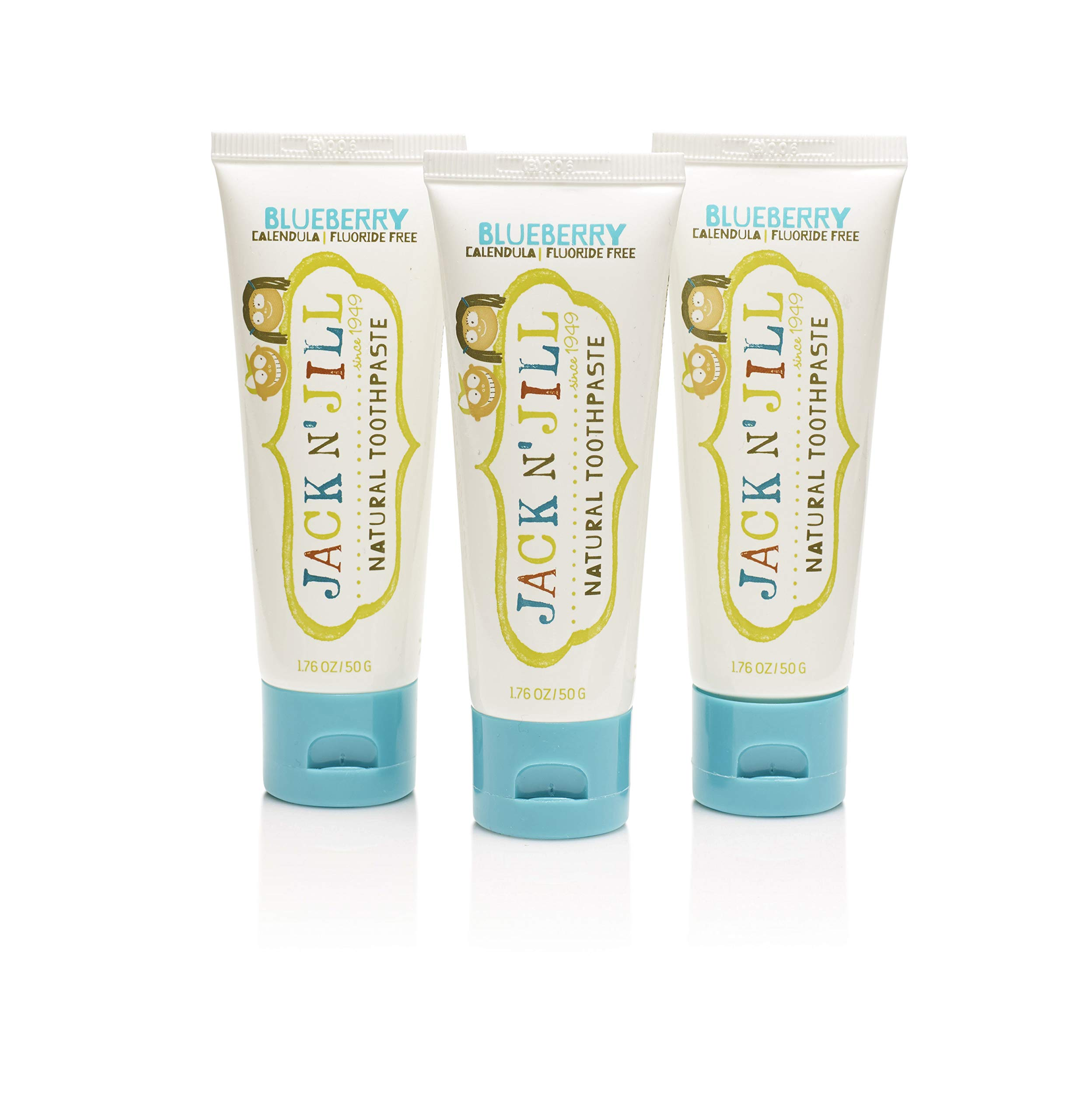 Jack N' Jill Natural Children's Toothpaste, Organic Blueberry, Fluoride Free, SLS Free, Vegan, 3-Pack