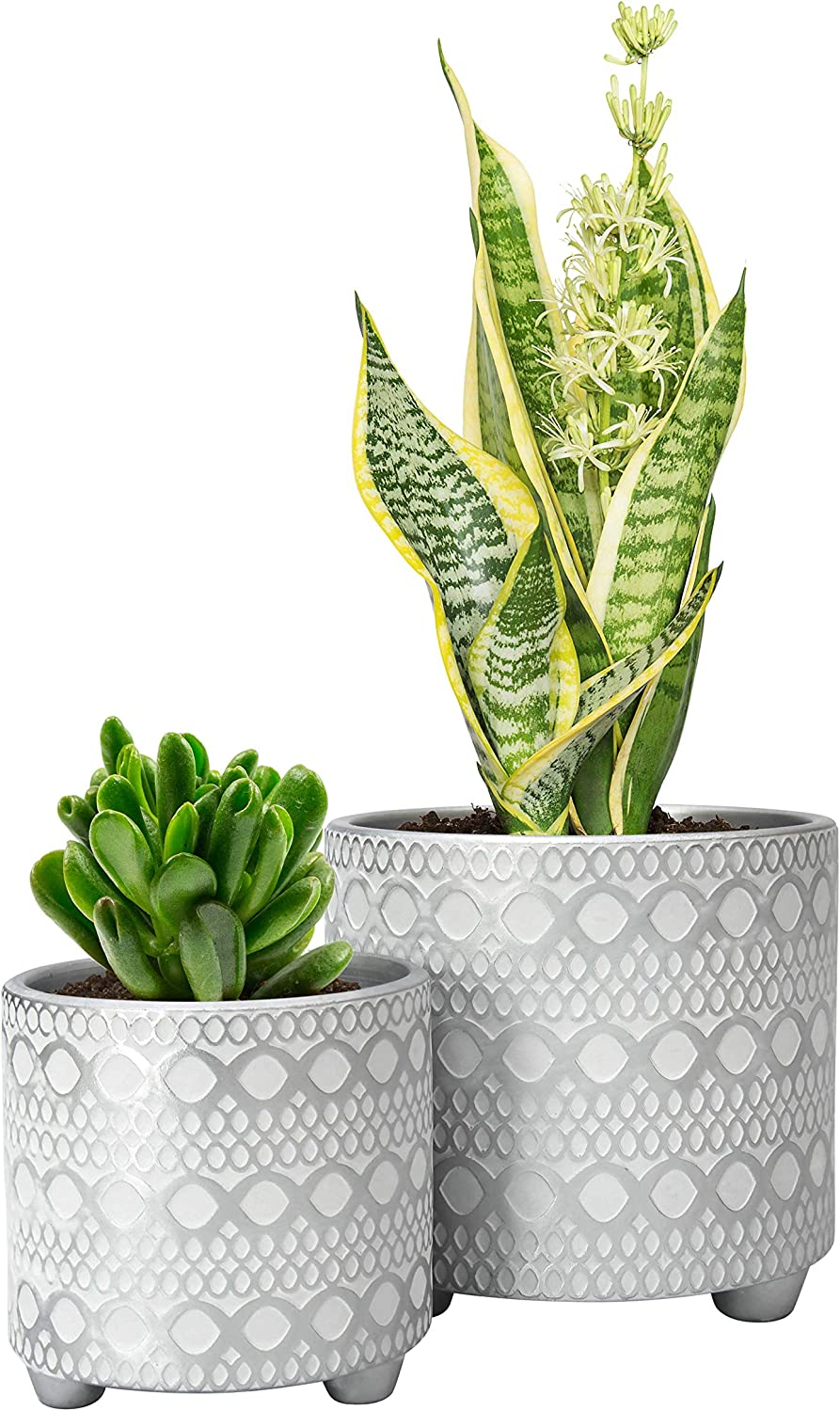 Set of 2 Planter Pots, 4 Inch & 6 Inch, Modern Design Ceramic Plants Pot with Drainage Hole, Silver/White