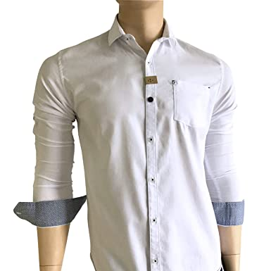 Fervel Mens Slim-Fit Long Sleeve Shirt Printed White Cotton Nacre Buttons (Q)