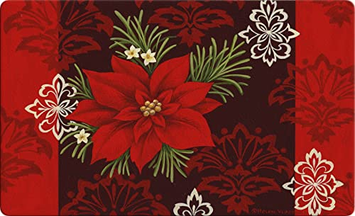 Toland Home Garden Red Damask 18 x 30 Inch Decorative Floor Mat Christmas Poinsettia Flower Holiday Doormat – 800109