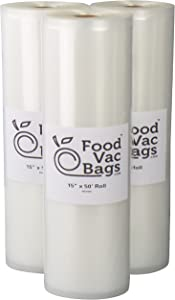 "Three FoodVacBags 15""x50' Rolls 4 mil Poly-Nylon Vacuum Sealer Storage Bags"