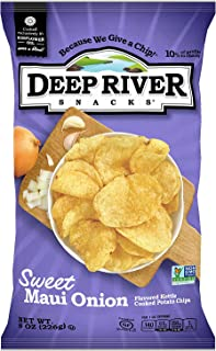 product image for Deep River Snacks Sweet Maui Onion Kettle Cooked Potato Chips, Non GMO, 8 Ounce (Pack of 12)