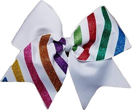 Rainbow Glitter Cheer Bow