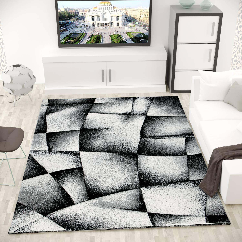 Vimoda Designer Teppich Wohnzimmer Abstrakt Grau Muster Schwarz Grau