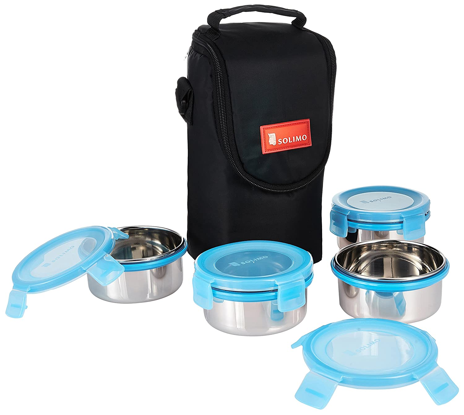 Solimo Stainless Steel Lunch Box Set, 4-Pieces, Blue Lid