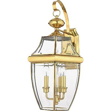 quoizel ny8318b newbury 3 light outdoor lantern polished brass