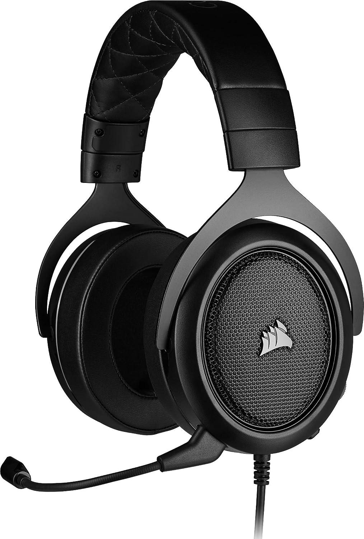 Corsair HS50 Pro Stereo Auriculares para Juegos (Ajustables Espuma viscoelástica Almohadillas, Ancelación del Ruido extraíble micrófono, Compatible con PC, PS4, Xbox One, Switch y móviles), Negro
