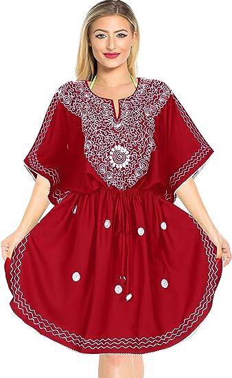 TALLA XL-XXL. LA LEELA Mujer Kaftan Rayón Túnico Bordado Kimono Estilo Más tamaño Vestido para Loungewear Vacaciones Ropa de Dormir & Cada día Cubrir para Arriba Tops Camisolas Playa P