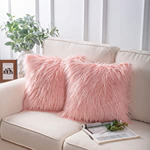 "Phantoscope Set of 2 Decorative New Luxury Series Merino Style Pink Fur Throw Pillow Case Cushion Cover 18"" x 18"" 45cm x 45cm"