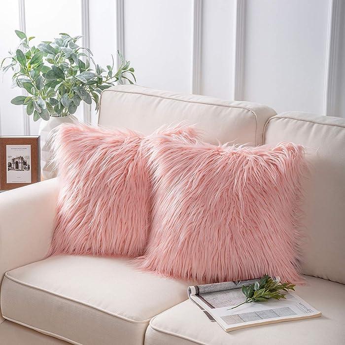 "Phantoscope Set of 2 Decorative New Luxury Series Merino Style Pink Fur Throw Pillow Case Cushion Cover 18"" x 18"" 45cm x 45cm"
