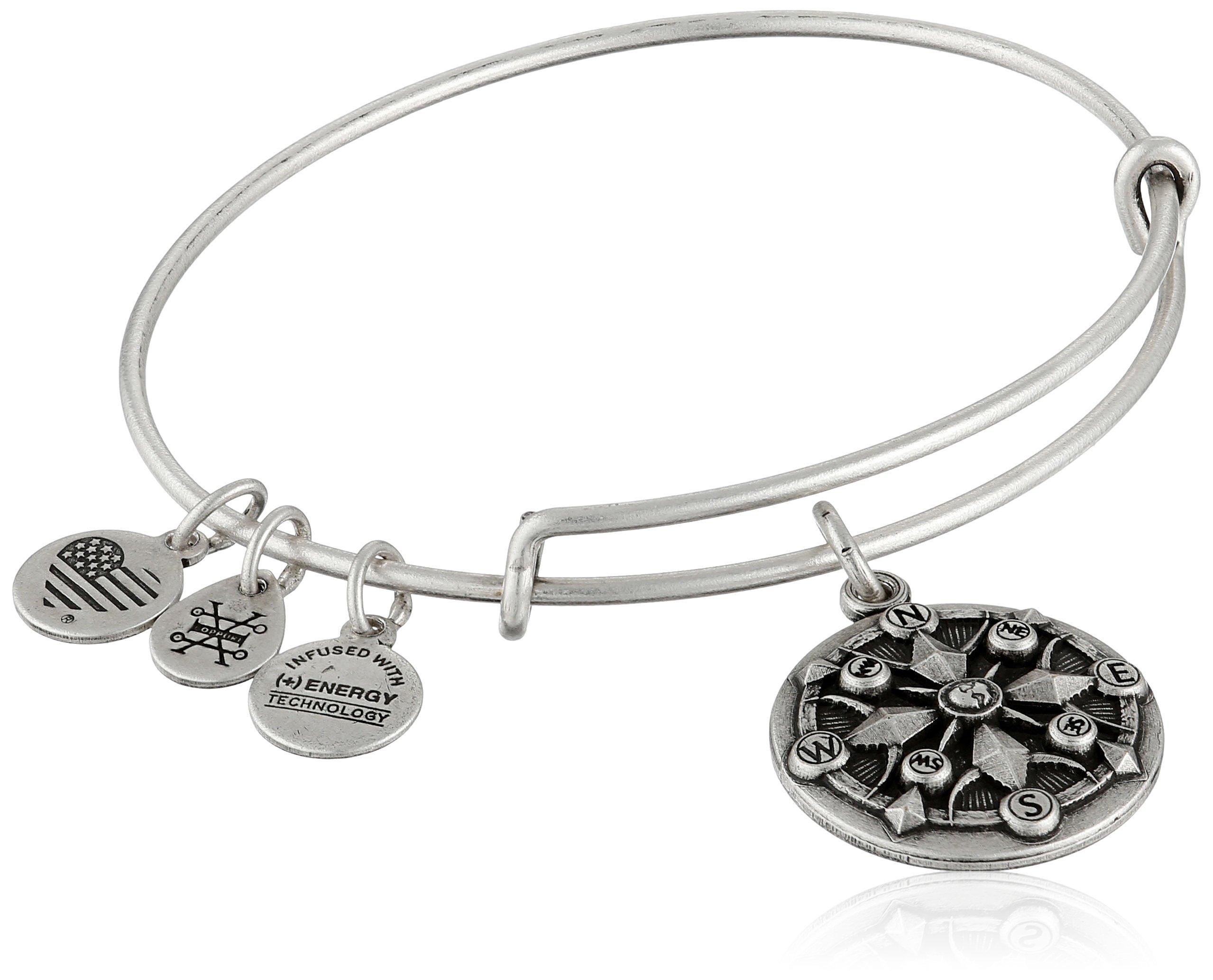 Alex and Ani Compass II Expandable Rafaelian Silver Bangle Bracelet
