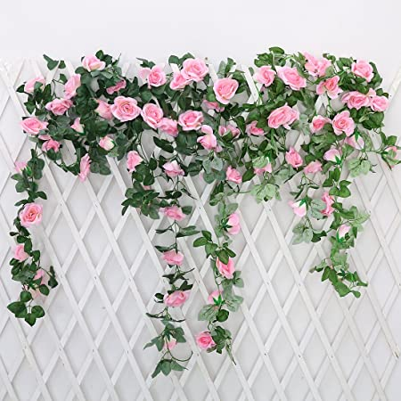 Justoyou 2 pack 72ft artificial fake rose garland vines hanging justoyou 2 pack 72ft artificial fake rose garland vines hanging silk flowers for outdoor indoor mightylinksfo