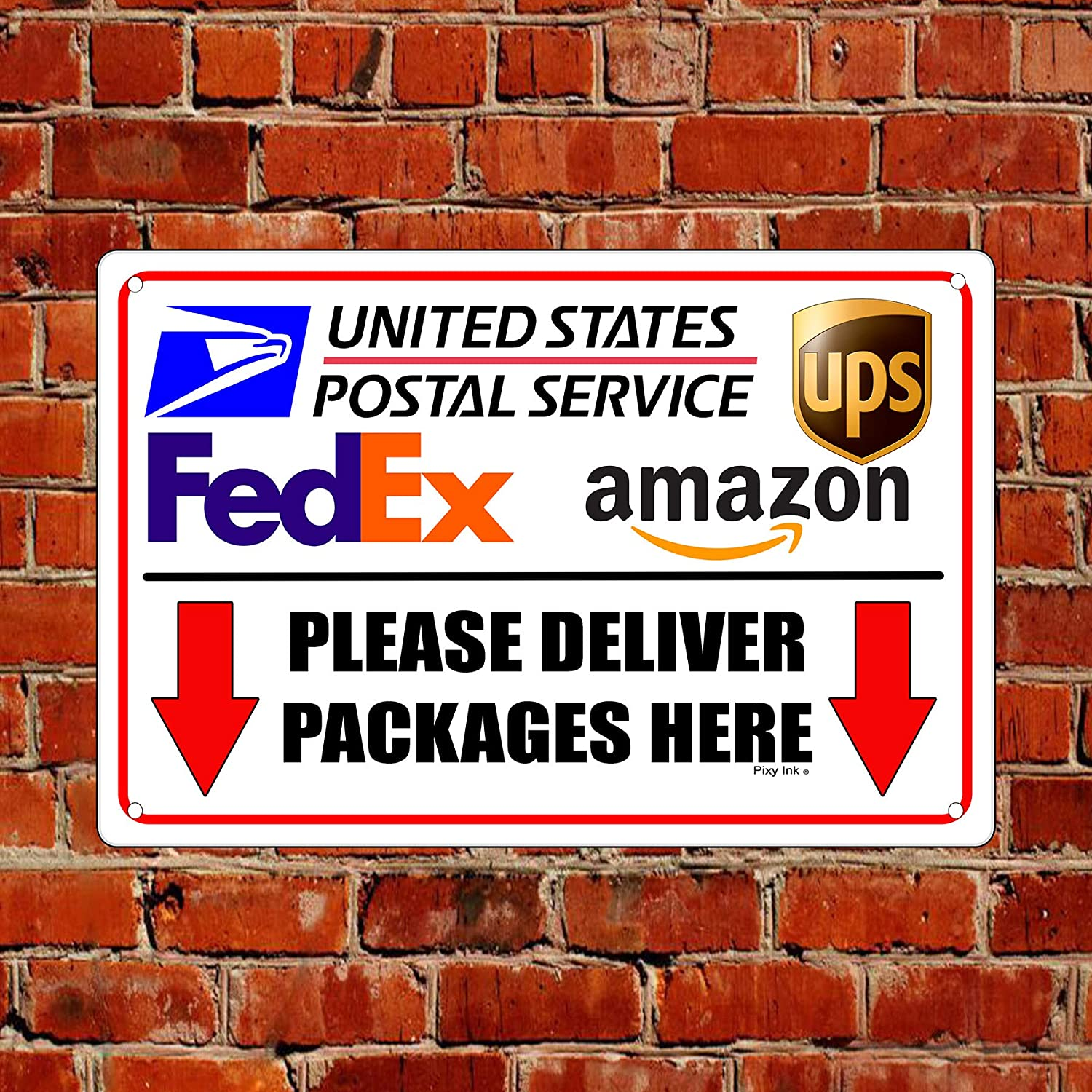 Deliver Packages Here Arrows Down w// OnTrac Sign Or Decal 7 SIZES delivery I330