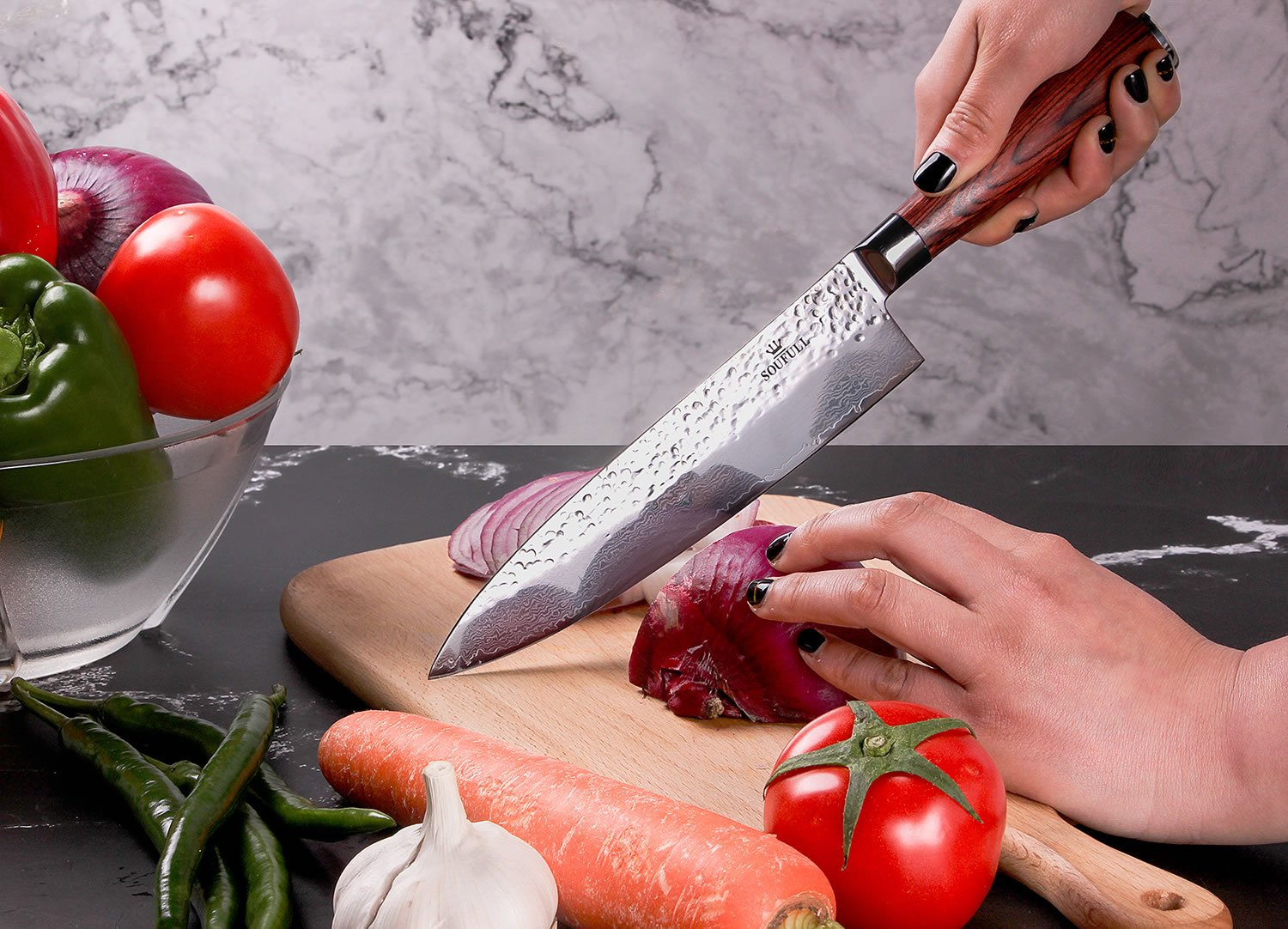 Damascus Chef Knife -Soufull 8 inch Knife Japanese VG10 Razor Sharp Well-Balanced - Stain & Corrosion Resistant Kitchen Knife - Professional Chefs Knives by Soufull (Image #7)