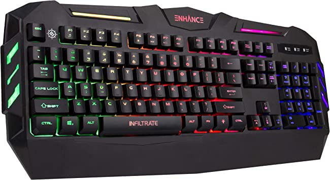 Colorful LED Backlit USB Wired Gaming Keyboard 19Key Anti-ghosting Waterproof