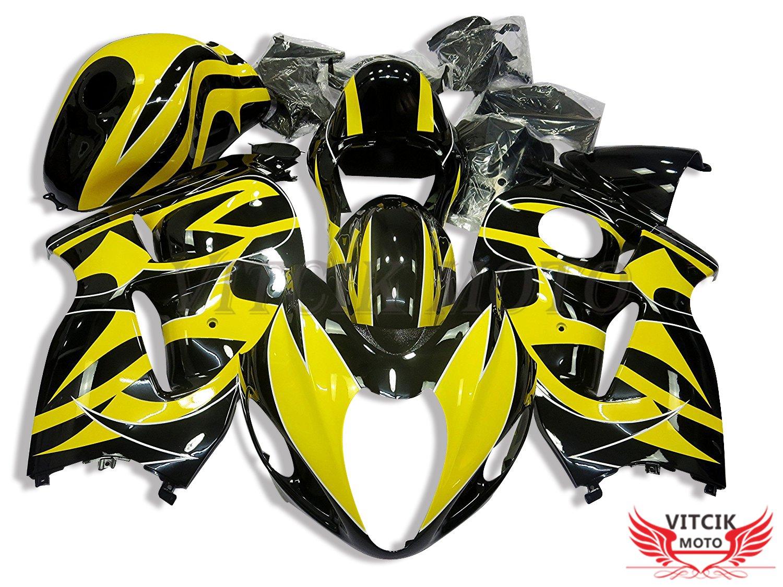 VITCIK (フェアリングキット 対応車種 スズキ Suzuki GSXR1300 GSX-R 1300 GSXR 1300 Hayabusa 1997-2007) プラスチックABS射出成型 完全なオートバイ車体 アフターマーケット車体フレーム 外装パーツセット(イエロー & ブラック) A078   B076MGZ9BP