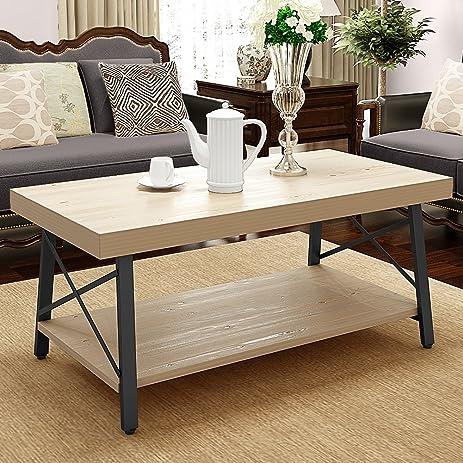 LITTLE TREE 48u201d Wood Coffee Table With Lower Storage Shelf And Heavy Duty  Metal Frame