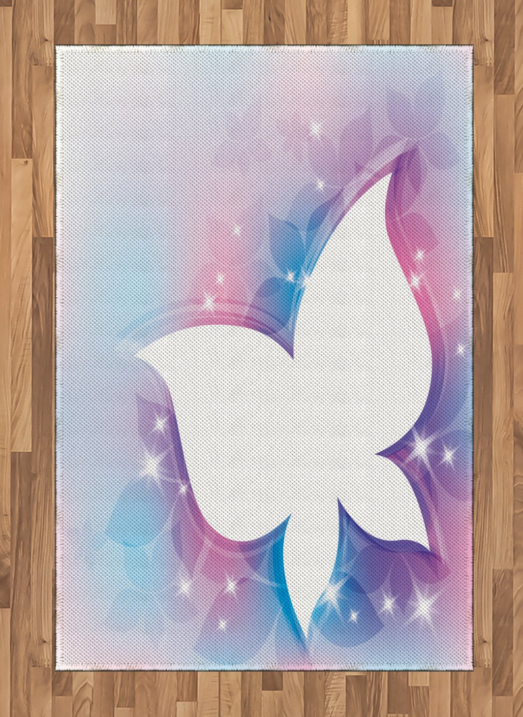 Ambesonne Butterfly Area Rug, Abstract Floral White Butterfly Silhouette on a Magical Spring Meadow Print, Flat Woven Accent Rug for Living Room Bedroom Dining Room, 4 X 5.7 FT, White Pink Blue